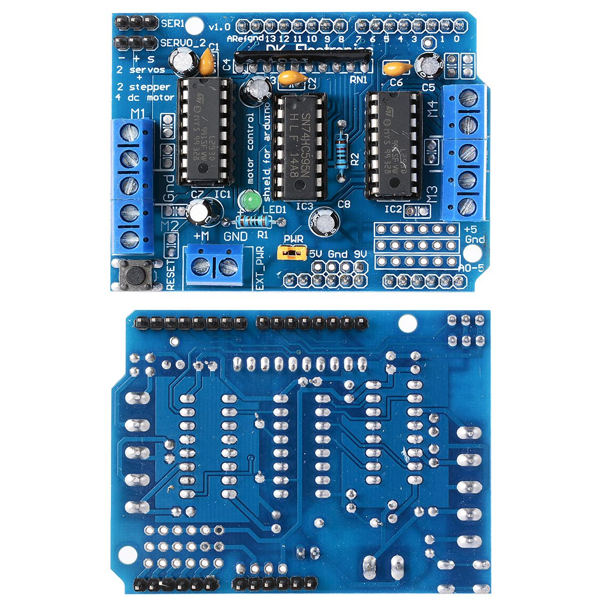 Arduino Motor Shield L293D ( 4 motors or 2 steppers) 600ma(1.2Apeak)